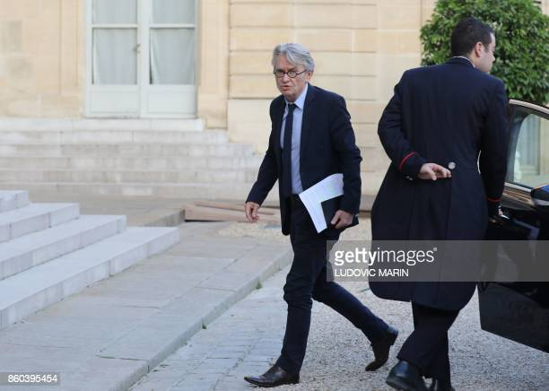 French Force Ouvriere labour union General Secretary JeanClaude Mailly arrives at the Elysee presidential Palace in Paris on October 12 2017 to meet...