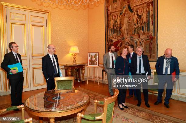 French Force Ouvriere labour union General Secretary JeanClaude Mailly speaks with French Labour Minister Muriel Pénicaud and French Education...