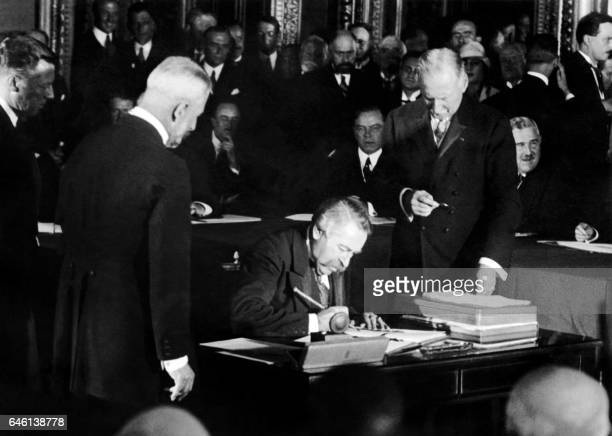 French Foreign Affairs Minister Aristide Briand signs The Kellogg Briand Pact for Renunciation of War as an Instrument of National Policy on August...