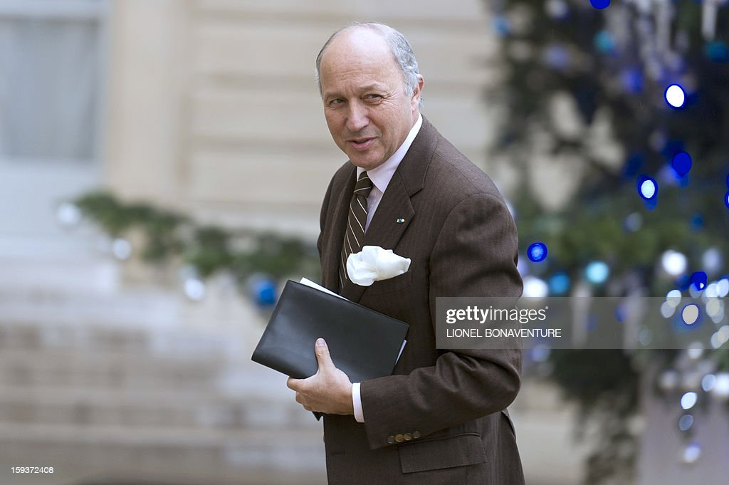 French Foreign Affairs minister Laurent Fabius arrives at the Elysee palace on January 12, 2013 in Paris to take part in a Defence council focused on the situation in Mali. France has asked the United Nations to 'accelerate' implementation of a resolution that enables the deployment of an international force to Mali. AFP PHOTO LIONEL BONAVENTURE