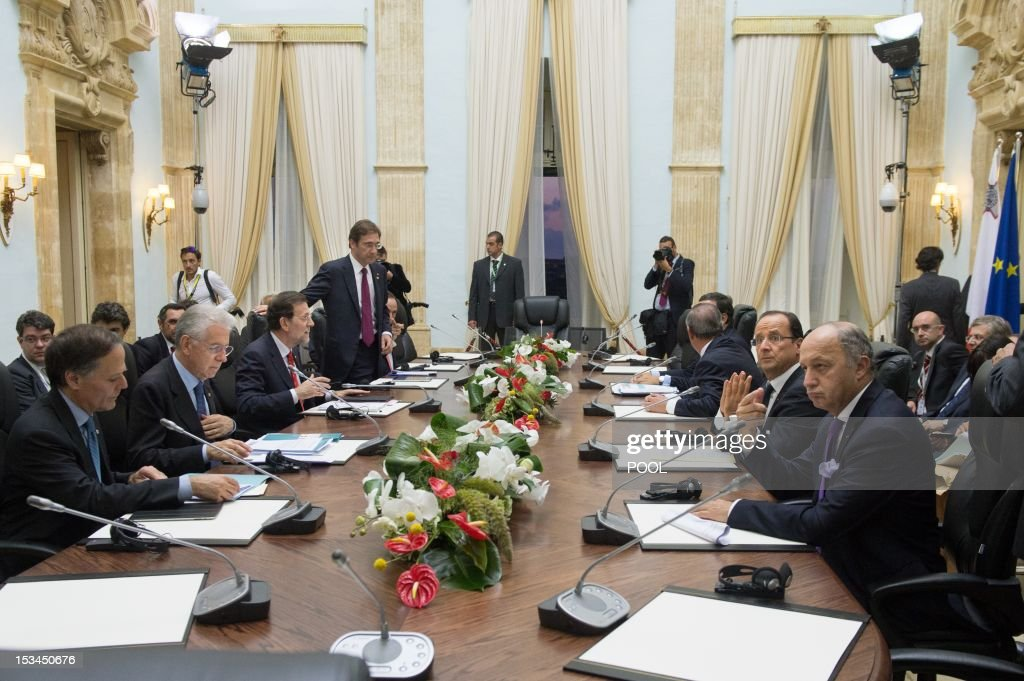 French Foreign Affairs Minister Laurent Fabius (R), French President Francois Hollande (2nd R), Italian Prime Minister Mario Monti (2ndL), Spanish Prime Minister Mariano Rajoy (3th L) and Portuguese Prime Minister Pedro Passos Coelho (4th L) attend a meeting at the Verdala Palace in Valletta on October 5, 2012, during the 'Five-Plus-Five' summit. European and North African leaders held their first summit since the Arab Spring revolts today in Malta, where France, Italy, Portugal and Spain will also hold talks on the euro debt crisis.
