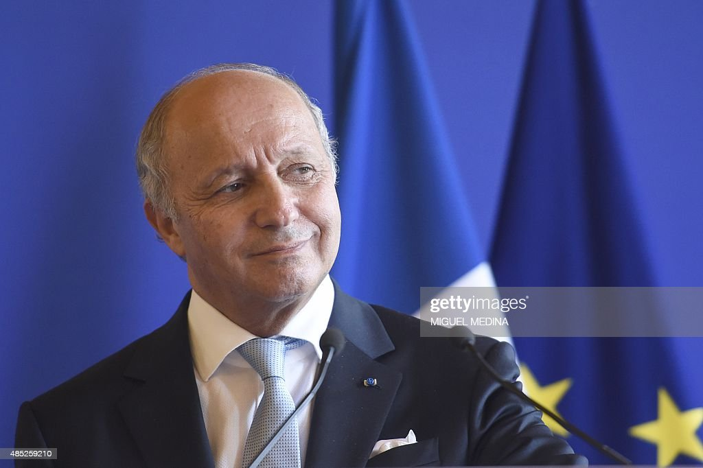 French Foreign Affairs Minister <a gi-track='captionPersonalityLinkClicked' href=/galleries/search?phrase=Laurent+Fabius&family=editorial&specificpeople=540660 ng-click='$event.stopPropagation()'>Laurent Fabius</a> speaks during a press conference along side Secretary General of the United Nations, Ban Ki-Moon and Peruvian Minister of State for Environment Manuel Pulgar Vidal (both not seen) at the Quai d'Orsay in Paris on August 26, 2015 as part of the week of ambassadors devoted to the preparation of the Paris conference Climate 2015. AFP PHOTO MIGUEL MEDINA