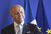 French Foreign Affairs Minister Laurent Fabius speaks during a press conference along side Secretary General of the United Nations Ban KiMoon and...