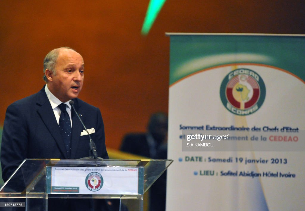 French foreign affairs minister Laurent Fabius speaks during the opening session of the regional bloc ECOWAS summit on expediting an African force to come to Mali's aid, on January 19, 2013 in Abidjan. Ivorian President and current head of the regional bloc ECOWAS, Alassane Ouattara today called for a broader international commitment to the military operations in Mali, where Malian and French forces are battling Islamist militant groups that control the country's vast arid north. AFP PHOTO/ SIA KAMBOU