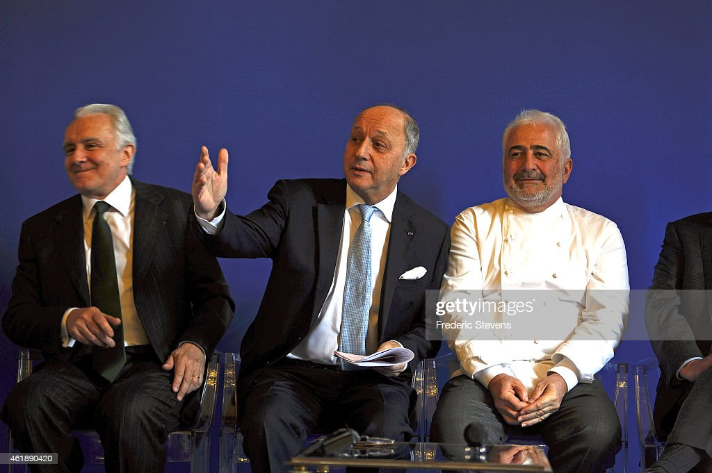 French Foreign Affairs Minister Laurent Fabius (C), Star-studded French Chefs Alain Ducasse (L) and Guy Savoy (R) attend a press conference for the presentation of the ''Gout de France (taste of France) / Good France'' day on January 21, 2015 in Paris, France. 'A commitee of international Chefs, led by Alain Ducasse and Guy Savoy will select restaurants that will participate in the event in which 1000 Chefs from all five continents will gather to celebrate French food on March 19, 2015.