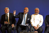 French Foreign Affairs Minister Laurent Fabius Starstudded French Chefs Alain Ducasse and Guy Savoy attend a press conference for the presentation of...