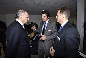 French Foreign Affairs minister Laurent Fabius Thales CEO Patrice Caine and Chief Executive Officer of Airbus Helicopters Guillaume Faury talk prior...