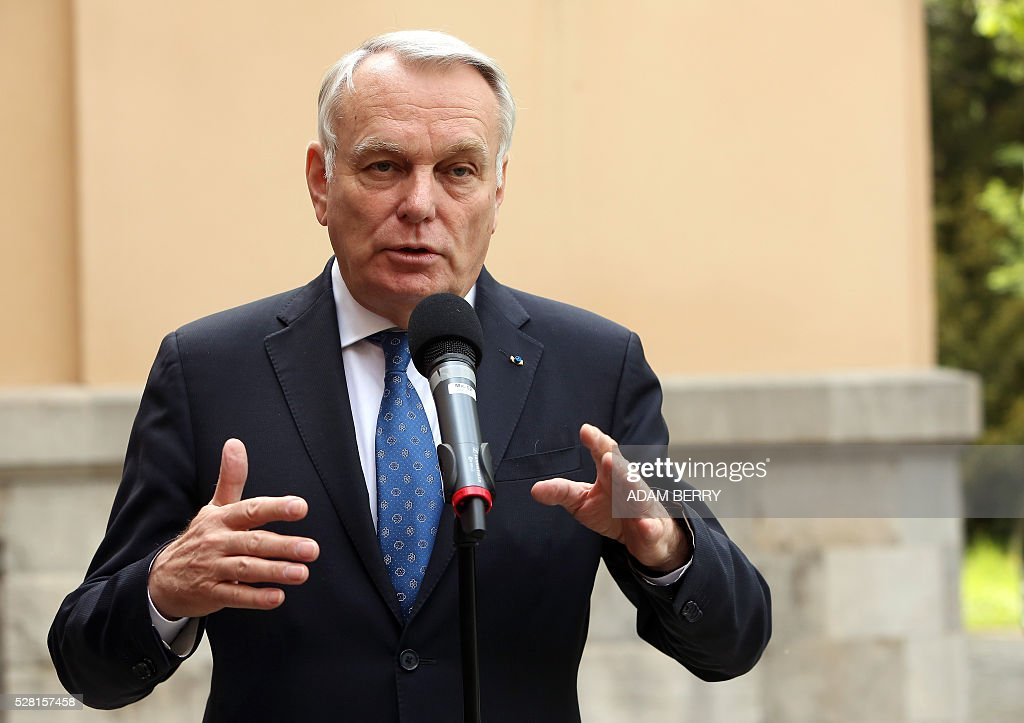 French Foreign Minister Jean-Marc Ayrault gives a statement to the press at the foreign ministry's guest house Villa Borsig in the suburbs of Berlin on May 4, 2016 ahead of a meeting on Syria as concerns grow over the war-torn country's faltering truce. / AFP / Adam BERRY