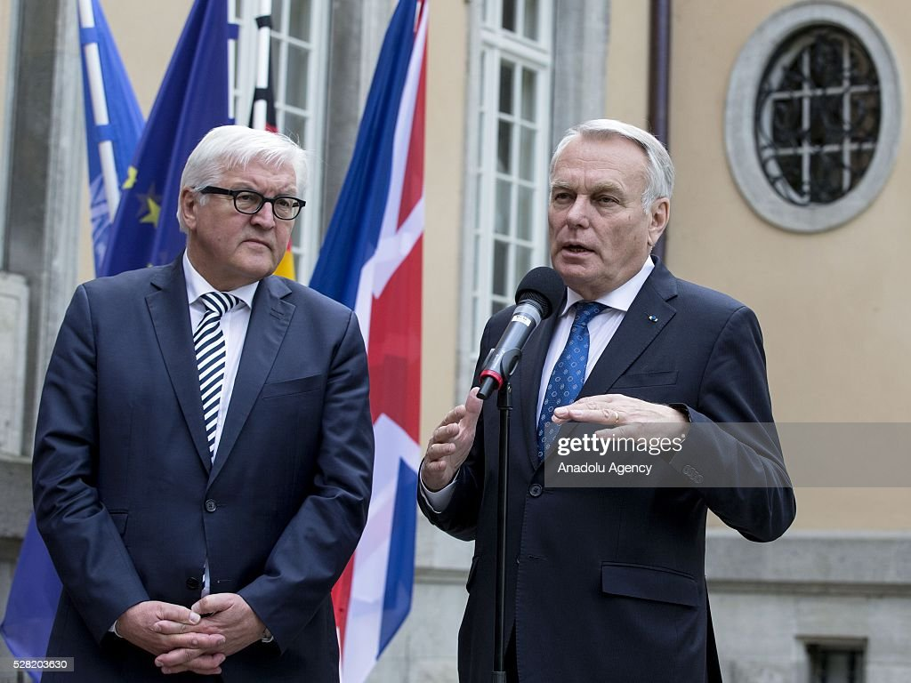 French Foreign Minister Jean-Marc Ayrault (R) speaks as German Foreign Minister Frank-Walter Steinmeier stands next to him during their joint press conference after their talks at the German foreign ministry's guest house Villa Borsig in Berlin, Germany on May 04, 2016.