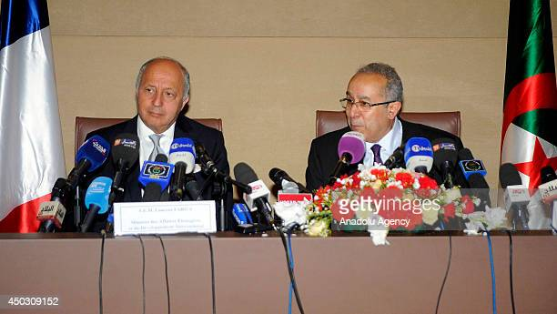 French Foreign Minister Laurent Fabius and his Algerian counterpart Ramtane Lamamra hold a joint press conference followed their meeting in the...