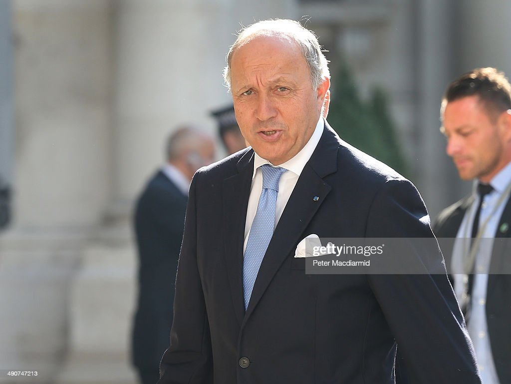 French Foreign Minister <a gi-track='captionPersonalityLinkClicked' href=/galleries/search?phrase=Laurent+Fabius&family=editorial&specificpeople=540660 ng-click='$event.stopPropagation()'>Laurent Fabius</a> arrives at the Foreign and Commonwealth Office to attend a Friends Of Syria meeting on May 15, 2014 in London, England. Foreign ministers from Western and Arab nations are meeting to discuss ways of supporting the Syrian opposition.
