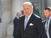 French Foreign Minister Laurent Fabius arrives at the Foreign and Commonwealth Office to attend a Friends Of Syria meeting on May 15 2014 in London...