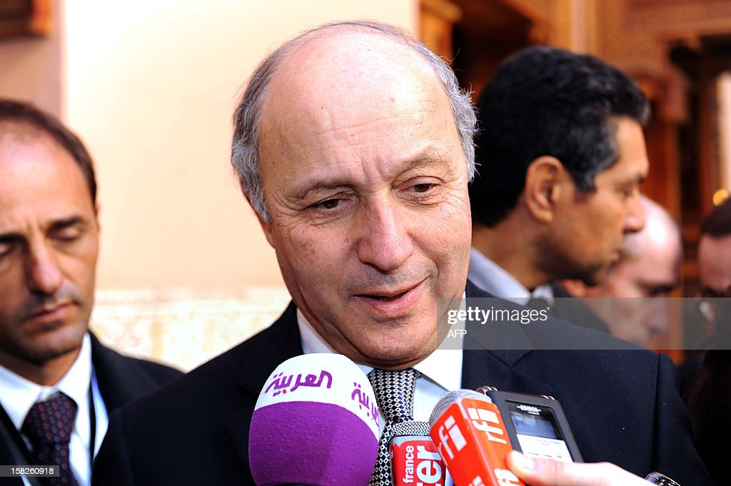 French Foreign Minister Laurent Fabius attends the Friends of Syria conference in Marrakesh on December 12, 2012. The Friends of Syria nations opposed to President Bashar al-Assad mEet in Morocco to look afresh at how to resolve the deepening crisis and support the new opposition group after it won official US backing.