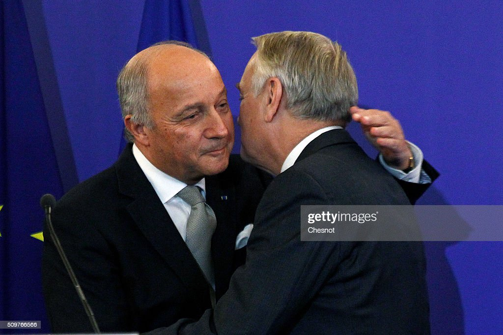 French Foreign Minister <a gi-track='captionPersonalityLinkClicked' href=/galleries/search?phrase=Laurent+Fabius&family=editorial&specificpeople=540660 ng-click='$event.stopPropagation()'>Laurent Fabius</a> (L) embraces newly-appointed Foreign Minister <a gi-track='captionPersonalityLinkClicked' href=/galleries/search?phrase=Jean-Marc+Ayrault&family=editorial&specificpeople=551961 ng-click='$event.stopPropagation()'>Jean-Marc Ayrault</a> during the official handover ceremony at the Ministry of Foreign Affairs on February 12, 2016 in Paris, France. French President Francois Hollande has appointed <a gi-track='captionPersonalityLinkClicked' href=/galleries/search?phrase=Jean-Marc+Ayrault&family=editorial&specificpeople=551961 ng-click='$event.stopPropagation()'>Jean-Marc Ayrault</a> Foreign Minister during the reshuffle of February 11, 2016.