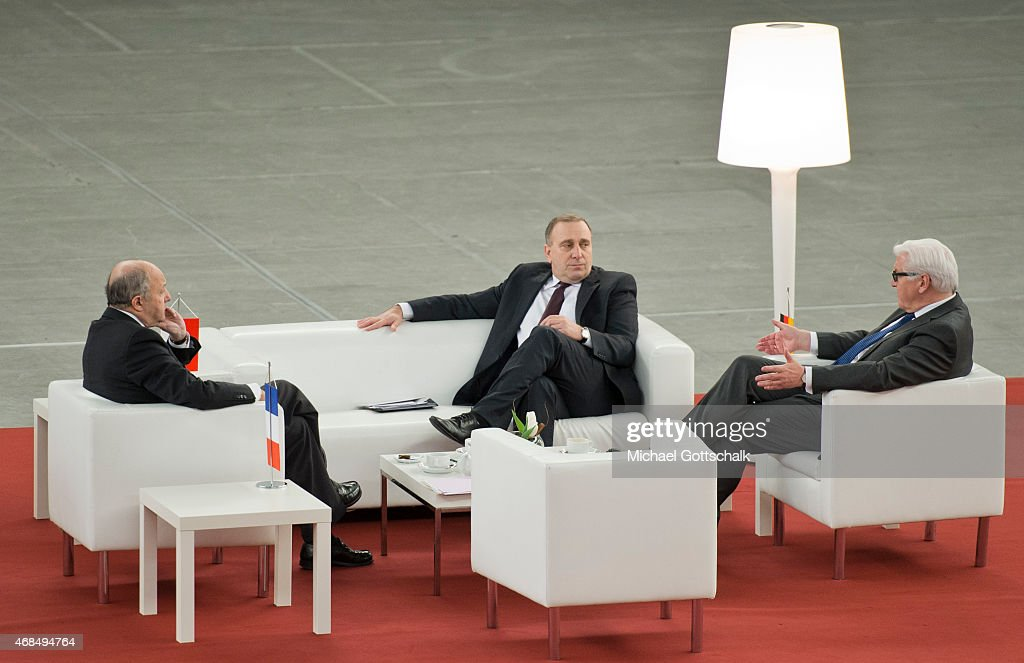 French Foreign Minister Laurent Fabius, Foreign Minister of Poland Grzegorz Schetyna and German Foreign Minister Frank-Walter Steinmeier meet in Weimarer Dreieck format in Jahrhunderthalle (Century Hall) on April 03, 2015 in Wroclaw, Poland.