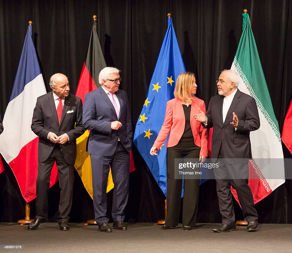 French Foreign Minister Laurent Fabius, German Foreign Minister Frank-Walter Steinmeier EU High Representative for Foreign Affairs and Security Policy Federica Mogherini, and Foreign Minister of Iran, Mohammad Javad Zarif, (L-R) pose for a photo after last Working Session of E 3+3 negotiations on July 14, 2015 in Vienna, Austria. Six world powers; US, UK, France, China, Russia and Germany have reached a deal with Iran on limiting Iranian nuclear activity.