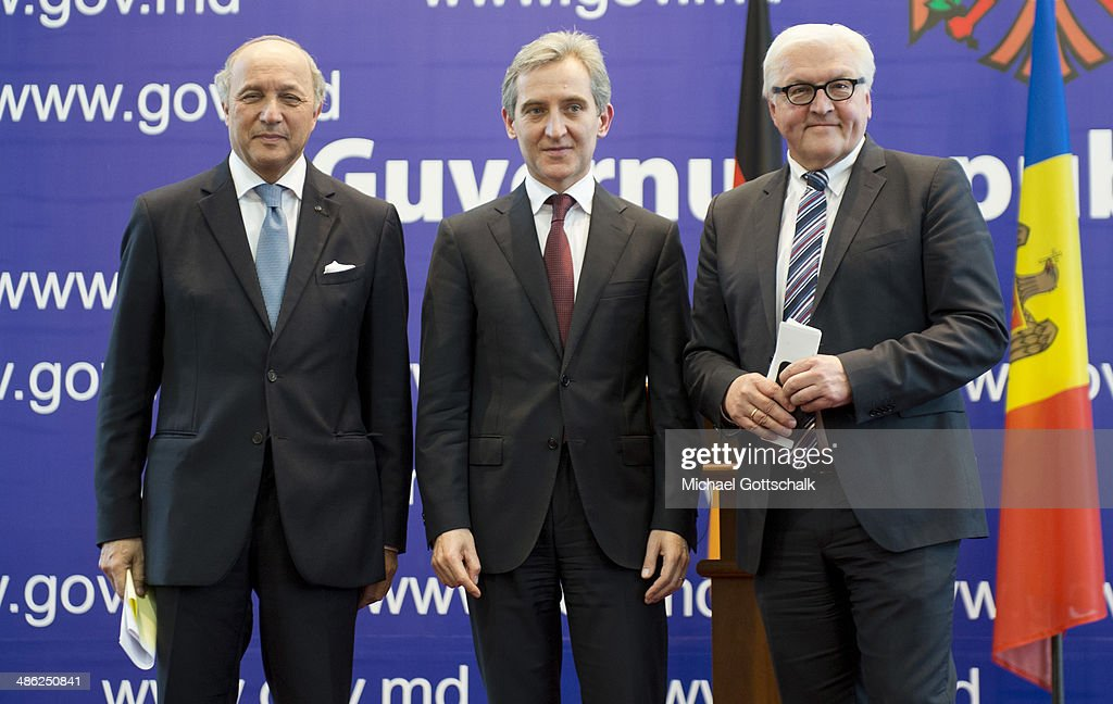 French Foreign Minister <a gi-track='captionPersonalityLinkClicked' href=/galleries/search?phrase=Laurent+Fabius&family=editorial&specificpeople=540660 ng-click='$event.stopPropagation()'>Laurent Fabius</a>, Prime Minister of Moldavia Iurie Leanca and German Foreign Minister <a gi-track='captionPersonalityLinkClicked' href=/galleries/search?phrase=Frank-Walter+Steinmeier&family=editorial&specificpeople=603500 ng-click='$event.stopPropagation()'>Frank-Walter Steinmeier</a> attend a press conference on April 23, 2014 in Chisinau, Moldova. German foreign minister <a gi-track='captionPersonalityLinkClicked' href=/galleries/search?phrase=Frank-Walter+Steinmeier&family=editorial&specificpeople=603500 ng-click='$event.stopPropagation()'>Frank-Walter Steinmeier</a> and his French counterpart <a gi-track='captionPersonalityLinkClicked' href=/galleries/search?phrase=Laurent+Fabius&family=editorial&specificpeople=540660 ng-click='$event.stopPropagation()'>Laurent Fabius</a> are traveling to Moldova and Georgia, former Soviet Republics, as well as Tunisia and France to strengthen the relationships between the countries as tensions continue to rise over Russia's intentions in Ukraine.