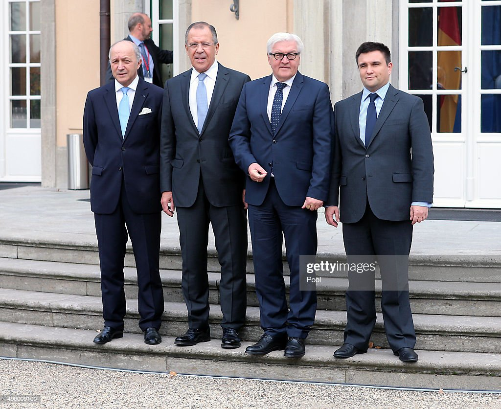 French Foreign Minister <a gi-track='captionPersonalityLinkClicked' href=/galleries/search?phrase=Laurent+Fabius&family=editorial&specificpeople=540660 ng-click='$event.stopPropagation()'>Laurent Fabius</a>, Russian Foreign Minister Sergey Lavrov, German Foreign Minister <a gi-track='captionPersonalityLinkClicked' href=/galleries/search?phrase=Frank-Walter+Steinmeier&family=editorial&specificpeople=603500 ng-click='$event.stopPropagation()'>Frank-Walter Steinmeier</a> and Ukrainian Foreign Minister <a gi-track='captionPersonalityLinkClicked' href=/galleries/search?phrase=Pavlo+Klimkin&family=editorial&specificpeople=12902005 ng-click='$event.stopPropagation()'>Pavlo Klimkin</a> pose for the media prior to a meeting at Villa Borsig on November 6, 2015 in Berlin, Germany. The Foreign Ministers are meeting to discuss the ongoing conflict in eastern Ukraine.