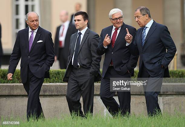 French Foreign Minister Laurent Fabius Ukrainian Foreign Minister Pavlo Klimkin German Foreign Minister FrankWalter Steinmeier and Russian Foreign...