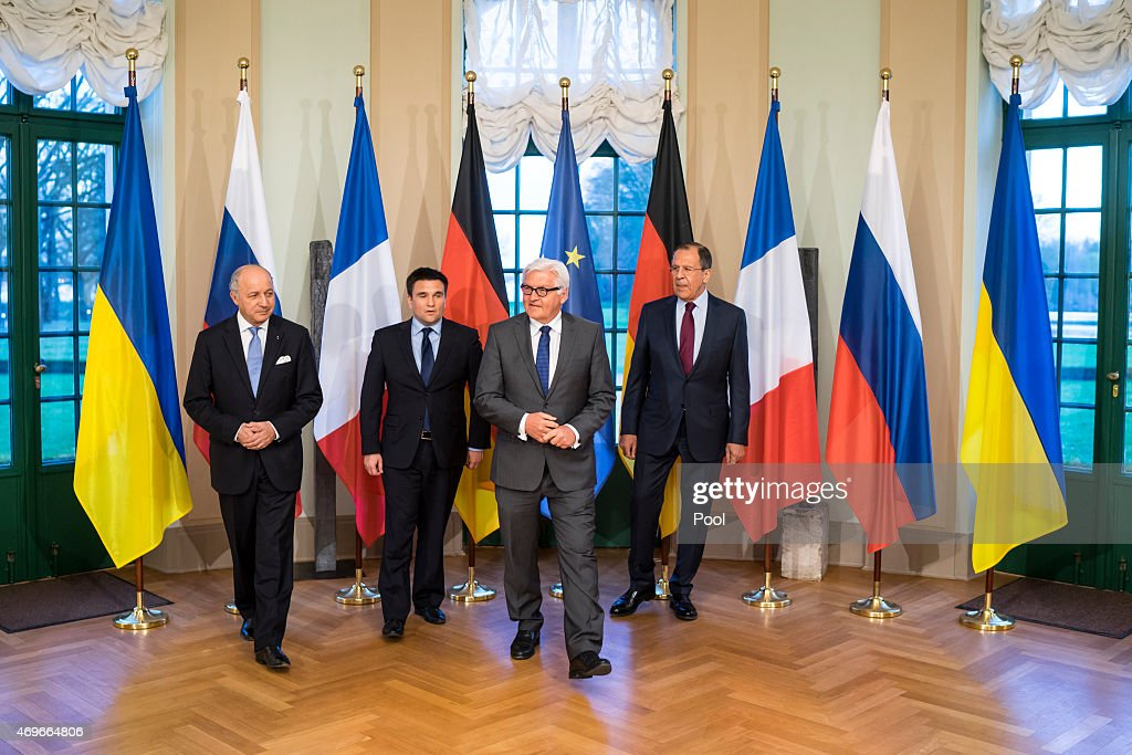 French Foreign Minister <a gi-track='captionPersonalityLinkClicked' href=/galleries/search?phrase=Laurent+Fabius&family=editorial&specificpeople=540660 ng-click='$event.stopPropagation()'>Laurent Fabius</a>, Ukrainian Foreign Minister <a gi-track='captionPersonalityLinkClicked' href=/galleries/search?phrase=Pavlo+Klimkin&family=editorial&specificpeople=12902005 ng-click='$event.stopPropagation()'>Pavlo Klimkin</a>, German Foreign Minister <a gi-track='captionPersonalityLinkClicked' href=/galleries/search?phrase=Frank-Walter+Steinmeier&family=editorial&specificpeople=603500 ng-click='$event.stopPropagation()'>Frank-Walter Steinmeier</a> and Russian Foreign Minister Sergey Lavrov poses for a photo before their meeting at Villa Borsig oon April 13, 2015 in Berlin, Germany. Foreign ministers from France, Germany, Ukraine and Russia met today to discuss the unstable ceasefire between Ukrainian government forces and pro-Russian rebels.