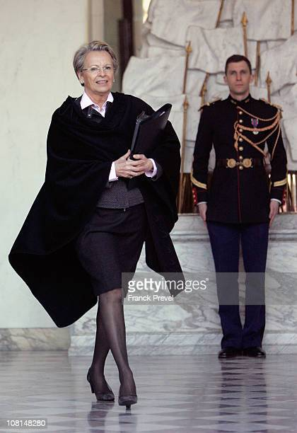 French Foreign Minister Michele AlliotMarie leaves the weekly cabinet meeting at Elysee Palace on January 19 2011 in Paris France