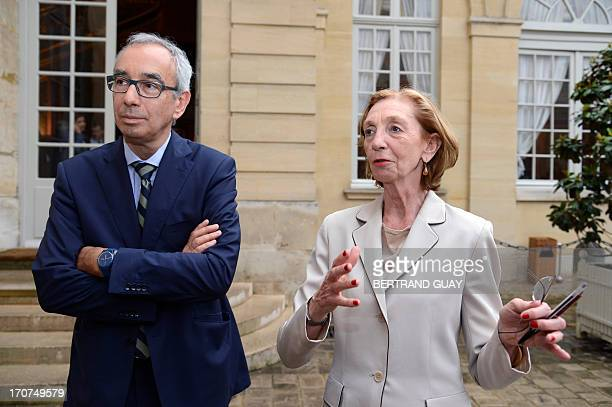 French Foreign Trade Minister Nicole Bricq and French economist and director of the French prime ministers economic policy planning staff Jean...