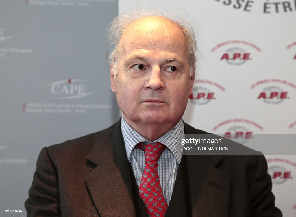 French former ambassador Patrick Henault attends a press conference on January 10, 2013, in Paris, organised by same-sex marriage opponents prior to a demonstration to be held on January 13 against same-sex marriage.