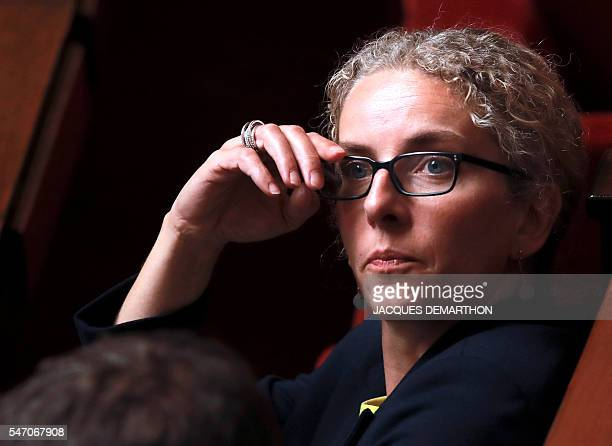 French former Ecology minister and socialist MP Delphine Batho looks on during a session of questions to the government at the National Assembly in...