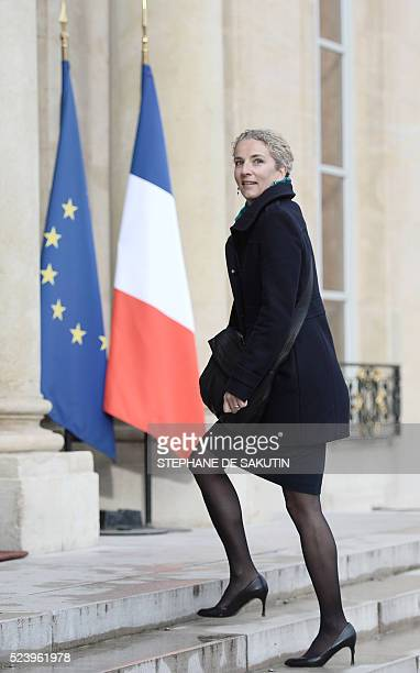 French former Ecology minister and socialist MP Delphine Batho arrives to attend an environmental conference on April 25 2016 at the Elysee...