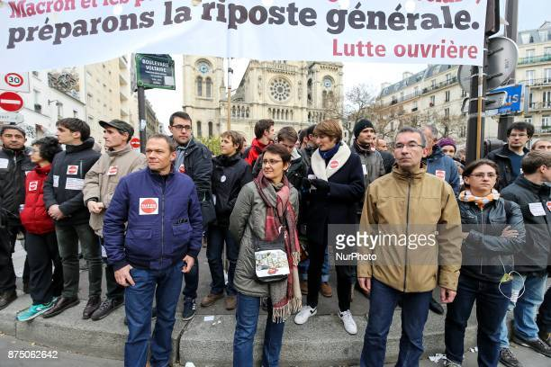 French former farleft Lutte Ouvriere party presidential candidate Nathalie Arthaud attends a demonstration as part of a nationwide protest day...