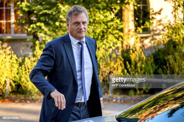 French former FIFA Secretary General Jerome Valcke arrives to the Court of Arbitration for Sport prior to his appeal over his 10year ban from...