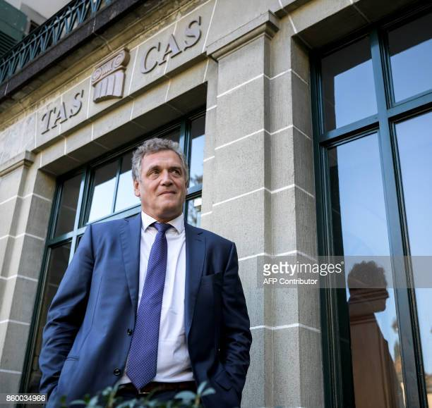 French former FIFA Secretary General Jerome Valcke looks on outside the Court of Arbitration for Sport prior to his appeal over his 10 year ban from...