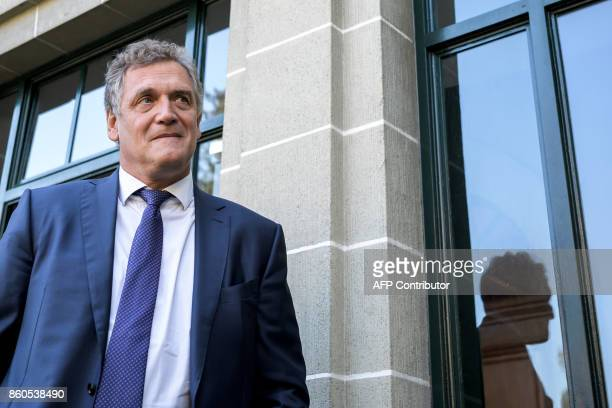 French former FIFA Secretary General Jerome Valcke stands outside of the Court of Arbitration for Sport prior to his appeal over his 10 year ban from...