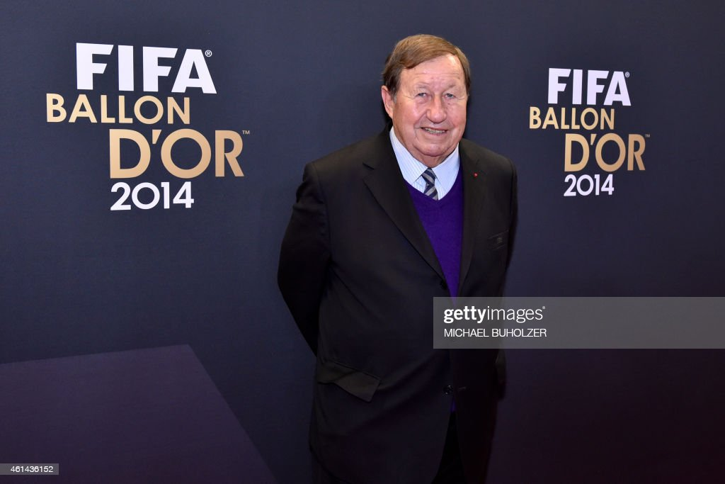 French former football coach <a gi-track='captionPersonalityLinkClicked' href=/galleries/search?phrase=Guy+Roux&family=editorial&specificpeople=547872 ng-click='$event.stopPropagation()'>Guy Roux</a> poses as he arrives during the red carpet ceremony ahead of the 2014 FIFA Ballon d'Or award ceremony at the Kongresshaus in Zurich on January 12, 2015.