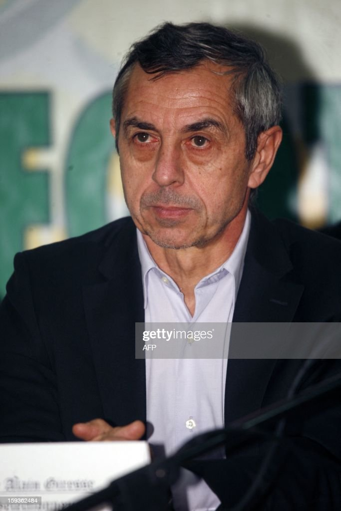 French former football international player Alain Giresse gives a press conference after signing a contract to be the new coach of the Senegal national football team, on January 11, 2013 in Dakar.