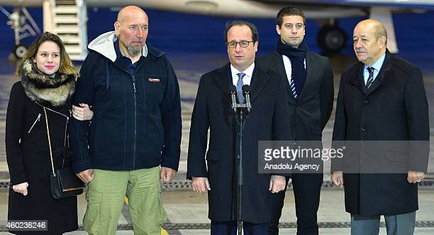 French former hostage Serge Lazarevic his doughter Diane Clement Verdon the son of French executed hostage Philippe Verdon French Defence Minister...