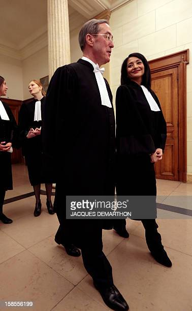 French former Interior Minister Claude Gueant and former Youth and Associations Junior Minister Jeannette Bougrab arrive to take an oath as lawyers...