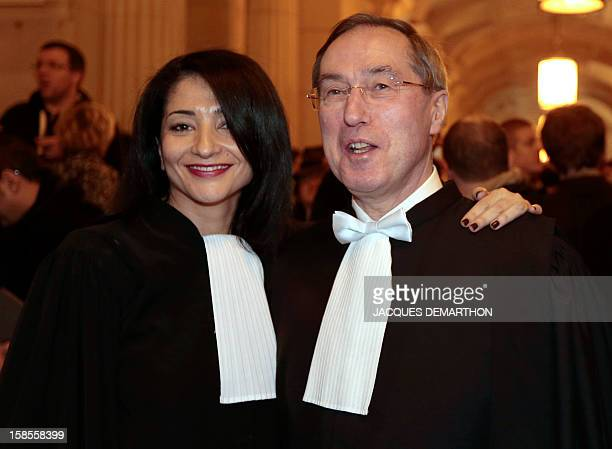 French former Interior Minister Claude Gueant and former Youth and Associations Junior Minister Jeannette Bougrab pose after they take an oath as...
