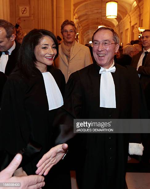 French former Interior Minister Claude Gueant and former Youth and Associations Junior Minister Jeannette Bougrab are congratulated by relatives...