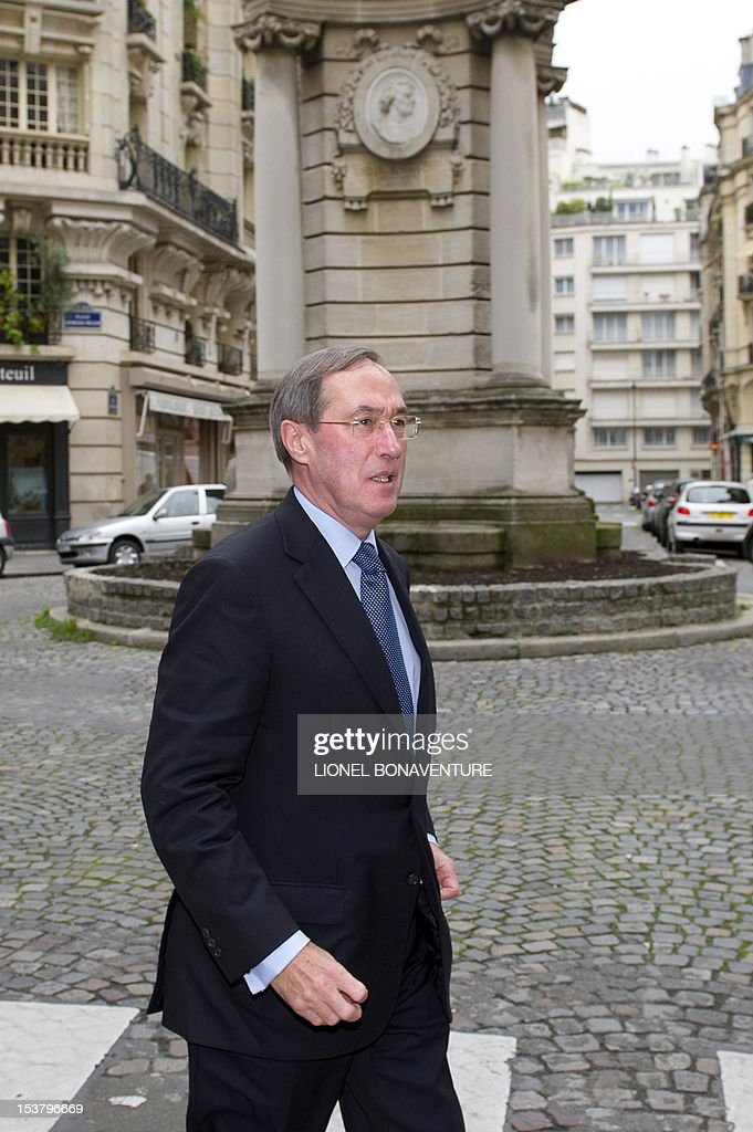 French former Interior minister Claude Gueant arrives to attend a breakfast gathering the members of the the association 'The friends of Nicolas Sarkozy', on October 9, 2012 in Paris.