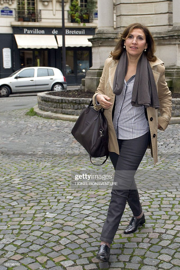 French former junior Minister Nora Berra arrives to attend a breakfast gathering the members of the the association 'The friends of Nicolas Sarkozy', on October 9, 2012 in Paris.