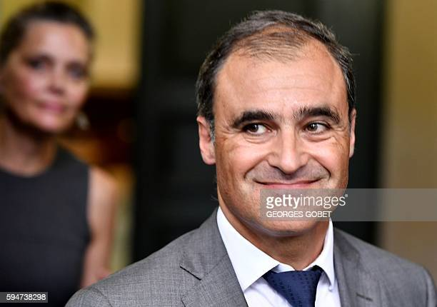 French former lawyer of the heiress of the cosmetics group L'Oreal Pascal Wilhelm leaves the Appeal court of Bordeaux southwestern France on August...
