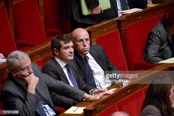 French former minister and MP Benoist Apparu talks with MP Eric Ciotti during the weekly session of questions to the government on November 28 2012...