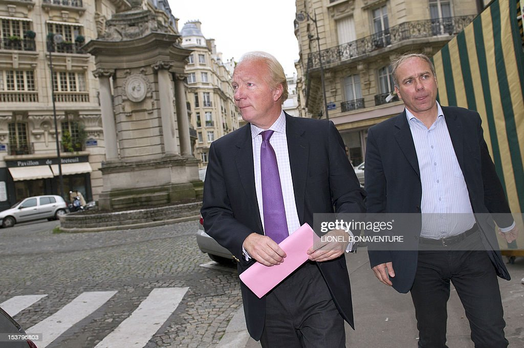 French former minister Brice Hortefeux arrives to attend a breakfast gathering the members of the the association 'The friends of Nicolas Sarkozy', on October 9, 2012 in Paris.
