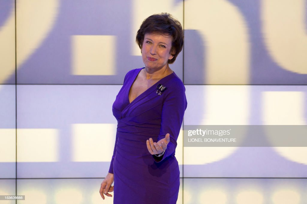 French former minister Roselyne Bachelot poses during the official launching of the French D8 TV channel on October 7, 2012 in Paris. D8 is the new name of Direct 8 that Canal + group bought to French Bollore group. Bachelot will host the program 'Le Grand 8' with Hapsatou Sy and journalists Elisabeth Bost, Audrey Pulvar and Laurence Ferrari.
