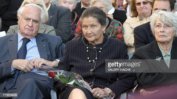 French former minister Simone Veil her husband Antoine and her sister Denise Vernay attend a ceremony 16 October 2007 in Nice in memory of their...