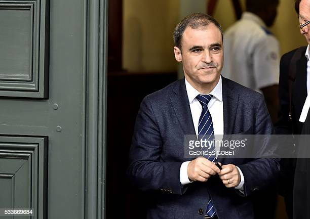 French former notary of the heiress of the cosmetics group L'Oreal Pascal Wilhelm leaves the Bordeaux's courthouse on May 23 2016 after morning...