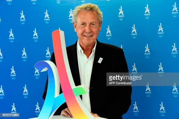 French former Olympic champion former politician and International Olympic Committee member Guy Drut poses after an interview on August 1 2017 in...