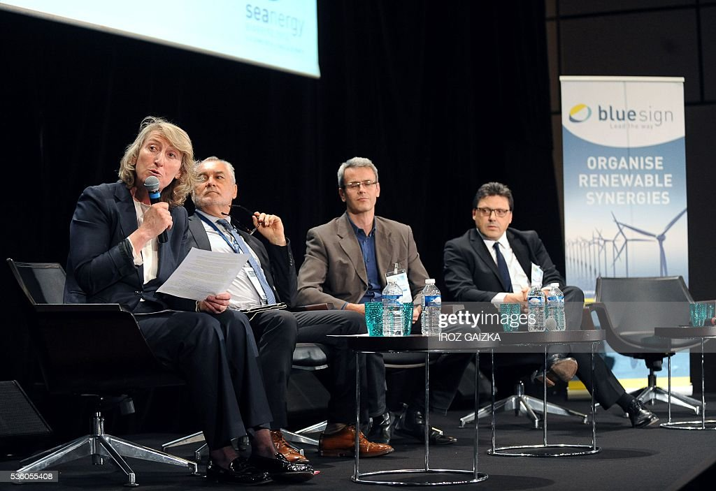 French former sailor and French Environment ministry's representative for sea and coastline, Catherine Chabaud, president of the French National Committee of Maritime Fisheries and Mariculture, Gerard Romiti, executive director of Surfrider Foundation Europe, Florent Marcoux, and president of the Marine Energy Committee of the French naval and energy industrial group DCNS, Frederic Le Lidec, take part in the third French National Conference of Renewable Marine Energy on May 30, 2016, in Biarritz, southwestern France. / AFP / IROZ