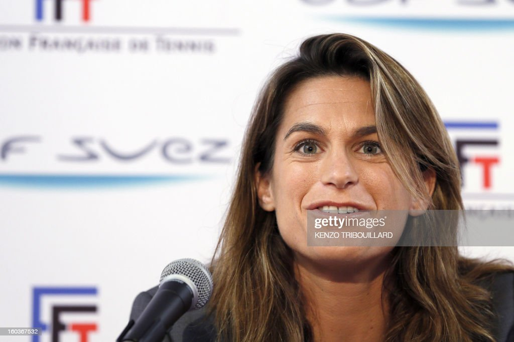 French former tennis player and French Fed Cup Tennis Captain, Amelie Mauresmo, gives a press conference on January 30, 2013 in Paris, during the 21st edition of the Paris WTA Open. Mauresmo announced that French Marion Bartoli, 28, was choosen for the next Fed Cup match against Germany in February.